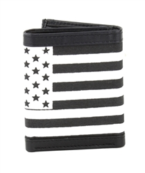 RFID Leather Trifold Wallet With American Flag Print Style: 803AF-WHITE