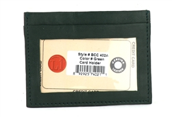 Lambskin Card Case with I.D. Window Style : BCC402A GREEN
