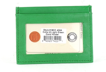 Lambskin Card Case with I.D. Window Style : BCC402A LIGHT GREEN