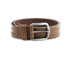Vegan Leather Casual Middle Stitch Prong Buckle Belt Style #BL177 Tan