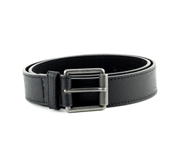 Vegan Leather Textured Casual Dress Roller Buckle Belt Style #BL180 Black