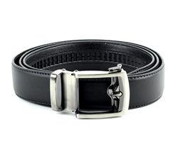 Vegan Leather Ratchet Dress Belt with Open Linxx Buckle Round Package Set Style #BL182 Black