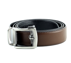 Vegan Leather Ratchet Dress Belt with Open Linxx Buckle Round Package Set Style #BL182 Brown
