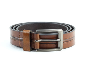 Genuine Leather Double Stitch Center Inlay Prong Buckle Belt Style #BL251 Tan