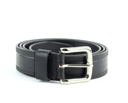 Genuine Leather Checker Embossed Prong Buckle Belt Style #BL252 Black