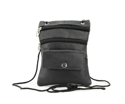Lambskin Large Neck Purse Style : C13- BLACK