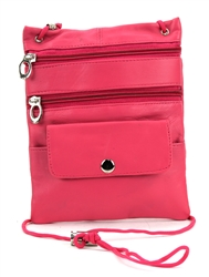 Lambskin Large Neck Purse Style : C13- HOT PINK