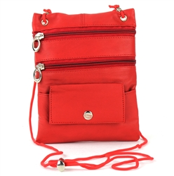 Lambskin Large Neck Purse Style : C13- RED