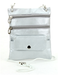 Lambskin Large Neck Purse Style : C13-  SILVER