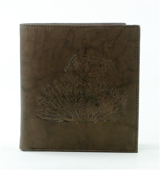 RFID Hipster Bifold wallet with Bass Fish print, Red Fin, Style: EMB 01B Brown