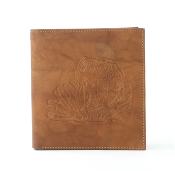 RFID Hipster Bifold wallet with Bass Fish print, Red Fin, Style: EMB 01B Tan