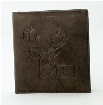 RFID Hipster Bifold wallet with Deer print, Red Fin, Style: EMB 01D Brown