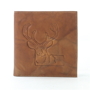 RFID Hipster Bifold wallet with Deer print, Red Fin, Style: EMB 01D Tan