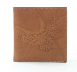 RFID Hipster Bifold wallet with Eagle print, Red Fin, Style: EMB 01E Tan