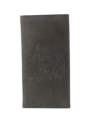RFID Rodeo Wallet with Bass Fish print, Red Fin, Style: EMB 02B Brown