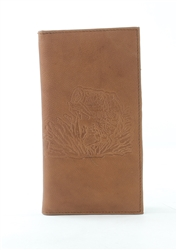 RFID Rodeo Wallet with Bass Fish print, Red Fin, Style: EMB 02B Tan