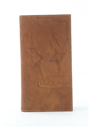 RFID Rodeo Wallet with Deer print, Red Fin, Style: EMB 02D Tan