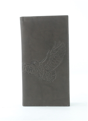 RFID Rodeo Wallet with Eagle print, Red Fin, Style: EMB 02E Brown