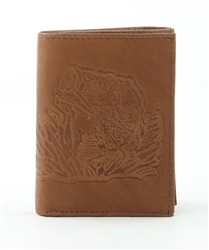 RFID Tri-Fold Wallet with Bass Fish print, Red Fin, Style: EMB 03B Tan