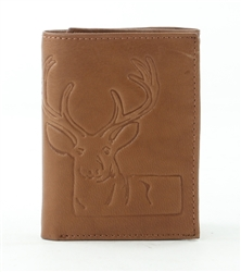 RFID Tri-Fold Wallet with Deer print, Red Fin, Style: EMB 03D Tan