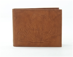 RFID Bifold wallet with Bass Fish print, Red Fin, Style: EMB 04B Tan