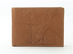 RFID Bifold wallet with Deer print, Red Fin, Style: EMB 04D Tan