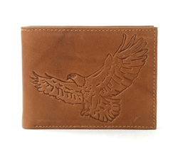 RFID Bifold wallet with Eagle print, Red Fin, Style: EMB 04E Tan