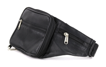 Leather Concealed Weapon Fanny Pack with Side Pockets, Style: GB-1