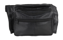 Multi-Zipper Leather Concealed Weapon Fanny Pack, Style: GB-3