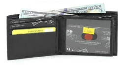 Black Embossed Croc Bifold Wallet with Center Flap Style: SE 504