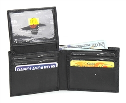 Black Soft Embossed Croc Bifold Wallet With Flap Up Style: SE 511