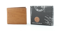 Embossed Tan Wood Grain Vegan Leather Bi-Fold Wallet Style #VL-552