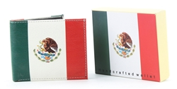 Mexican Flag Vegan Leather Bi-Fold Wallet  VL-523
