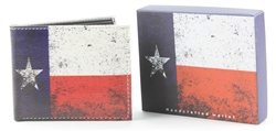 Vintage Texas Flag Bi-Fold Vegan Leather Wallet VL-526