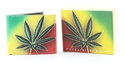 Rasta Marijuana Leaf Bi-Fold Vegan Leather Wallet VL-528