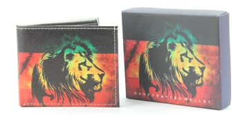 Rasta Lion Print Bi-Fold Vegan Leather Wallet VL-531