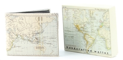 World Map Print Bi-Fold Vegan Leather Wallet VL-532