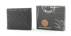 Embossed Black Checker Vegan Leather Bi-Fold Wallet Style #VL-556