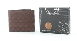 Embossed Brown Checker Vegan Leather Bi-Fold Wallet Style #VL-557
