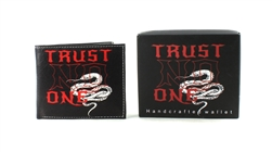 TRUST NO ONE Print Vegan Leather Bi-Fold Wallet Style #VL-572
