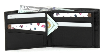 Top Grain Cowhide Bi Fold Wallet w/ Center Flap Style : W894