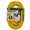 Master Electrician, 50', 12/3 SJTW-A, Round Vinyl, Yellow Extension Cord, Indoor/Outdoor, Power Indicator Lighted Plyg, 15A, 125V, UL Listed, Meets OSHA Requirements.