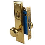 Maxtech (Like Marks 91A/3) 1033AL Polished Brass Left Hand Heavy Duty Mortise Entry Lockset, Surface Mounted Screw-on Knobs Lock Set
