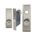 "Maxtech or Em-D-Kay or Gotham (Marks 91DW/26D-X Like), Satin Chrome 26D, MAXTECH Wide Face Plate, Right Hand, Heavy Duty Mortise Lock Knob Vestibule Function Always Locked Storeroom Latch Only Lockset, PROGRESSIVE Escutcheon Plate 2-1/4"" X 7"" Knob Hole An"