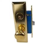 Maxtech (Like Marks 114A/3) 1033BL Polished Brass Left Hand Heavy Duty Mortise Entry Lockset, Screwless Knobs Thru Bolted Lock Set