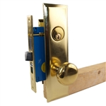 Maxtech Metro Version (Like Marks 114A/3) 1033BMR Polished Brass US3 Right Hand Apartment Mortise Entry Lockset, self-Adjusting spindles with Screwless Knobs Thru Bolted Lock Set