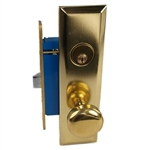 Maxtech (Like Marks 114A/3) 1033B Polished Brass Right Hand Heavy Duty Mortise Entry Lockset, Screwless Knobs Thru Bolted Lock Set