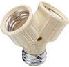 Pass & Seymour, 128ICC10, Ivory, Incandescent Twin Light Socket, 15A, 125V