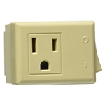 Leviton 1470-I Ivory 15 Amp 125 Volt AC 3 Wire Grounded Switch Tap with On / Off Button