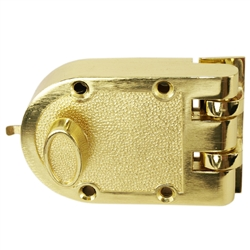 Tuff Stuff, 167PB, Polished Brass, Jimmy Proof Single Cylinder Deadlock Deadbolt With Flat Strike, Boxed